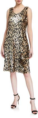 Lafayette 148 New York Laurie Leopard Sequin Sleeveless Dress
