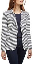 Jaeger Striped Jersey Blazer, Ivory/Navy