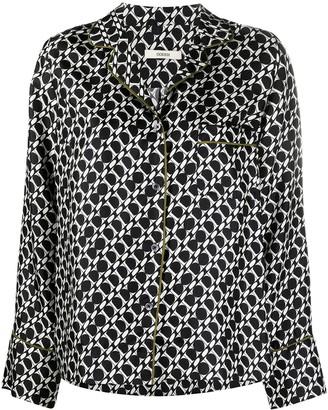 Odeeh Geometric-Print Silk Shirt