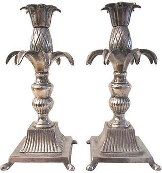 One Kings Lane Vintage Pineapple Candle Holders - Set of 2 - Osprey Blu