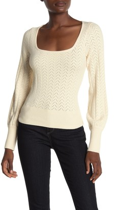 ASTR the Label Square Neck Puff Sleeve Knit Sweater