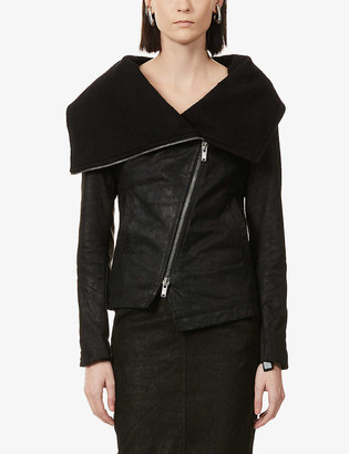 10seiotto Crater funnel-neck leather jacket