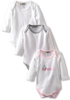 Armani Junior 3-Pack L/S One Piece (Infant) (Grey/Pink) - Apparel