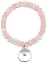 Large Coin Charm Bracelet Rose Quartz