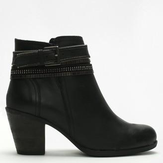 Df By Daniel Loki Black Leather Embellished Strap Ankle Boots