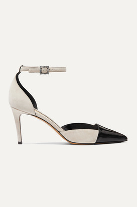 Alexandre Vauthier Cindy Crystal-embellished Patent-leather And Suede Pumps - Beige