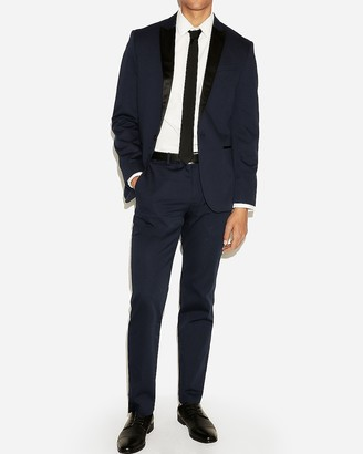 Express Slim Navy Cotton Sateen Tuxedo Jacket