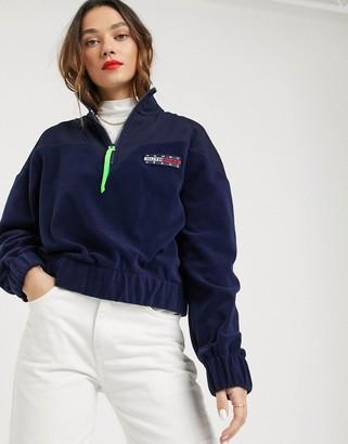 Tommy Jeans fleece quarter zip sweatshirt-Navy