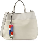 French Connection Ace Bead Tassel Tote Bag, Cream