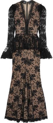 Alexander McQueen Cotton-blend Lace Peplum Gown