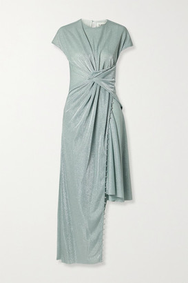 Lanvin Asymmetric Bead-embellished Gathered Metallic Knitted Dress - Mint