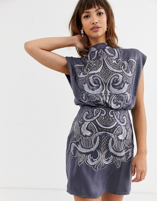 ASOS DESIGN high neck embroidered mini dress in satin
