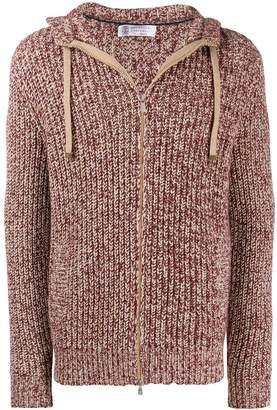 Brunello Cucinelli chunky knit zip-up hoodie