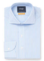 Drakes Drake's - Blue Cutaway-Collar Striped Cotton Shirt