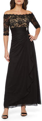 Dj Jaz DJ Jaz 3/4 Sleeve Off The Shoulder Embellished Evening Gown