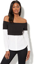 New York & Co. 7th Avenue - Madison Stretch Shirt - Overlay-Detail Off-The-Shoulder