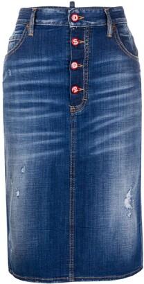 DSQUARED2 Distressed Denim Pencil Skirt