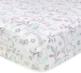 Just Born Mix & Match Classic Collection Woodland Animals Fitted Crib Sheet in Aqua
