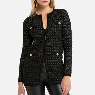 Anne Weyburn Long Zip-Up Cardigan in Chunky Knit