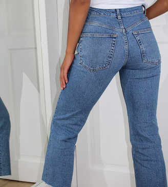 ASOS DESIGN Petite high rise stretch 'effortless' crop kick flare jeans in mid vintage blue
