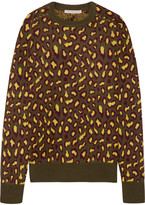 Christopher Kane Leopard-intarsia Cashmere Sweater - Army green