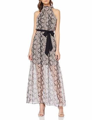 Dorothy Perkins Women's Neutral Bow Halter Snake Maxi Dress