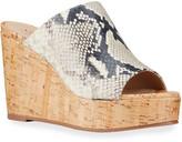 Stuart Weitzman Margarite Snake-Print Wedge Sandals