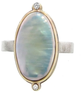 Jamie Joseph Oval Pearl Ring with Diamonds