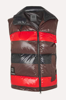 Ganni 66 North Askja Striped Quilted Glossed-shell Down Vest - Black