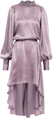 Ann Demeulemeester Rasoseta Asymmetric Ruffle-trimmed Silk-satin Dress