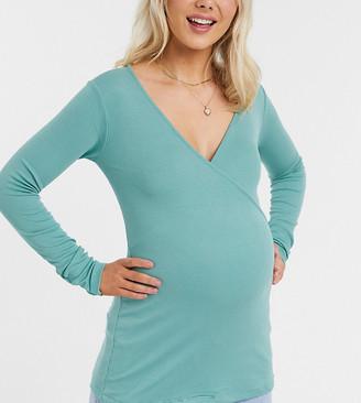 Asos Maternity   Nursing ASOS DESIGN Maternity nursing wrap top in rib