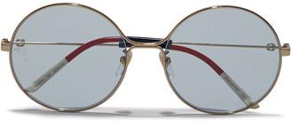 Gucci Round-frame Gold-tone Sunglasses