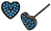 Journee Collection 1/2 CT. T.W. Round-cut Turquoise Heart Stud Pave Set Earrings in Rhodium-Plated Sterling Silver - Blue