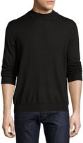 Neiman Marcus Wool-Blend Mock-Neck Sweater, Black