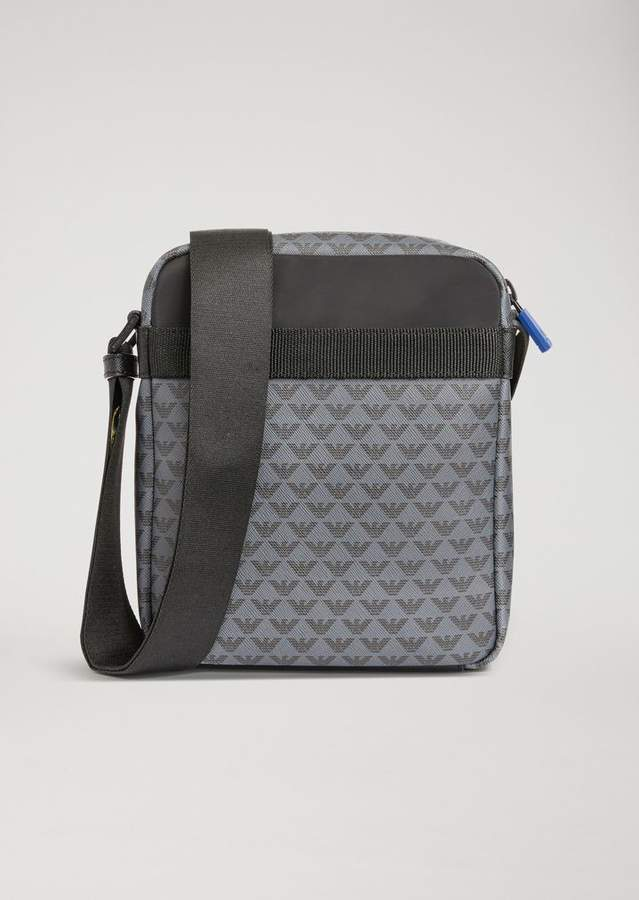 Emporio Armani Leather Cross Body Bag With All-Over Logo Print