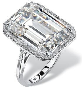 PalmBeach Jewelry Platinum over Sterling Silver Cubic Zirconia Ring - White