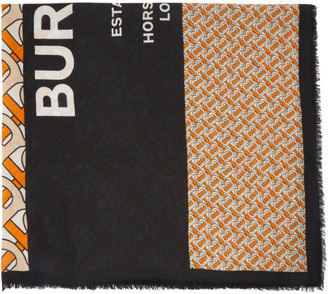 Burberry Orange and Black Large Monogram Scarf