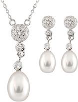 Splendid Pearls Rhodium Plated Silver 7.5-8.5Mm Freshwater Pearl & Cz Drop Earrings & Necklace Set