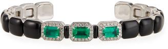 Nikos Koulis Oui 3-Emerald & Diamond Cuff in 18k White Gold/Enamel