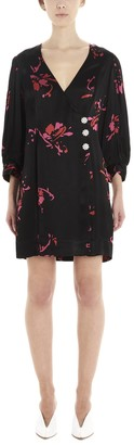 Ganni Floral Print Wrap Mini Dress