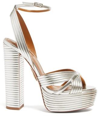 Aquazzura Sundance 140 Metallic-leather Platform Sandals - Silver