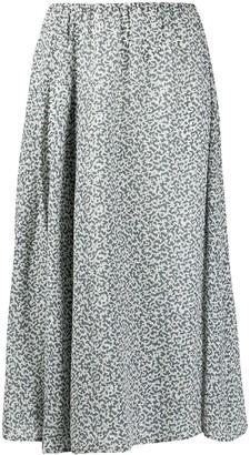 Alysi Patterned Silk Midi-Skirt