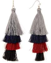 Natasha Accessories Layered Tassel Drop Earrings