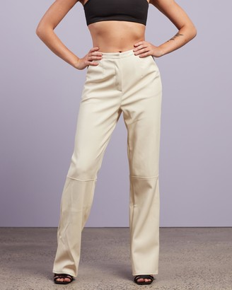 Missguided Women's White Pants - PU Faux Leather Trousers - Size 6 at The Iconic