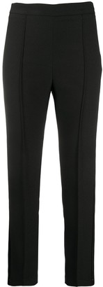 Hebe Studio Satin-Stripe Slim Trousers