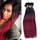 ORANGE STAR Hair Brazilian Ombre Straight Hair Extensions Black To Red Smooth Weave Two Tone 1B99J Dark Roots Burgundy 3 Bundles 300 gram