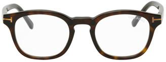 Tom Ford Tortoiseshell Blue Block Soft Round Glasses