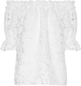 Badgley Mischka Off-the-shoulder guipure lace top