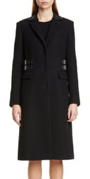 Altuzarra Leather Trim Wool Blend Coat