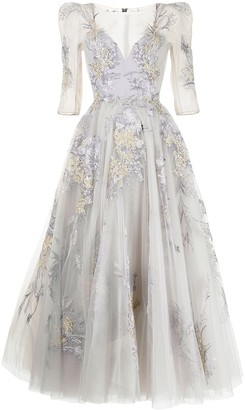 Saiid Kobeisy Floral-Embroidered Tulle Gown